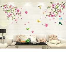 Cherry Blossom Tree Wall Sticker Vinyl Art Mural DIY Decals w Flower Butterfly