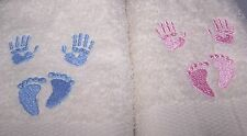 """PERSONALIZED WITH NAME & DOB EMBROIDERED BABIES HANDS AND FEET  BATH TOWEL"""