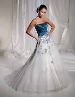 STRAPLESS SATIN & TULLE LACED BODICE A LINE WEDDING DRESS SIZES 14 16 18 20 22