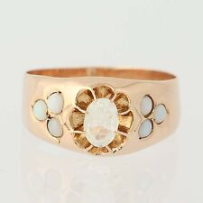 Victorian Glass & Opal Ring - 14k Rose Gold Women's Antique .24ctw