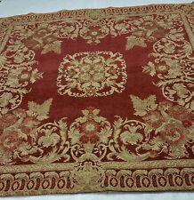 Spice Red & Tan Rose Medallion Chenille Tapestry Throw and Handmade Pillows