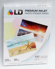 20 SHEETS Sticker Photo  Paper LD Full Sheets White Glossy Inkjet  Decals