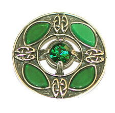 Celtic Shield Emerald Brooch in antique Pewter by Miracle Jewellery MBP362E