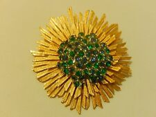 RARE VINTAGE SPACE AGE SIGNED MARBOUX EMERALD & SAPPHIRE RHINESTONE BROOCH PIN