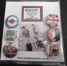 The Lambrettas 25mm 6 Button Badge Set, mod revival