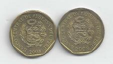 2 DIFFERENT 10 CENTIMOS COINS from PERU (2008 & 2009)