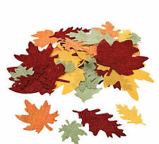"50 Burlap Leaf Shapes 2-5"" Thanksgiving Halloween Fall LEAVES Foliage CRAFTS"