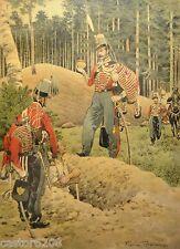 REGAMEY estampe encadrée 1911(6) UNIFORMES 1851 Cavalier Hussard & Colonel