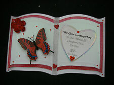KEEPSAKE 3 Page BOOK Birthday Card WIFE Girlfriend RED ROSE Butterfly Boxed X1