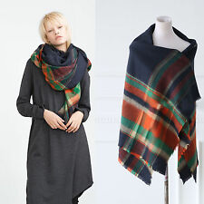 Lady Women Large Tartan Plaid Checked Pashmina Scarf Wrap Shawl Neck Stole Warm