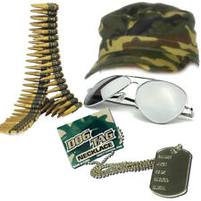 Mens Army Soldier Instant Kit Bullet Belt Cap Dog Tag Glasses Hen Accessories