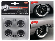 10 SPOKE STREET FIGHTER HAMMER 4pc WHEELS AND TIRE SET 1/18 BY GMP 18859