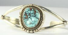 VTG FRED GUERRO OLD PAWN STERLING SILVER TURQUOISE CUFF BRACELET