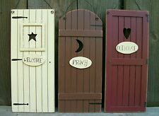 """Set 3 Primitive Country """"Outhouse"""" Door Signs""""Welcome,Privy""""-Bathroom Wall Decor"""