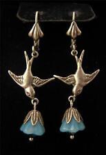 DOVE BIRD EARRINGS LAMPWORK GLASS FLOWERS AQUA BEAD ANTIQUE SILVER STYLE DANGLE