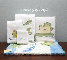 RARE Pottery Barn Kid Froggy Frog Shower Curtain+Bath Mat+Towels+Accessories Set