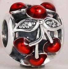 CHERRIES 925 Sterling Silver Solid European Clip Charm Bead for Bracelet