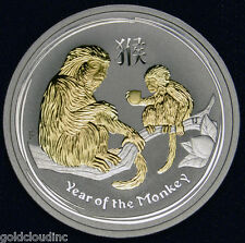 2016 Gilded Australia Monkey 1/2 oz Silver Coin Lunar Series II, 24k Gold Plated