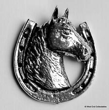 Lucky Horse Head Pewter Pin Brooch -UK Made- Horse Shoe Equestrian Pony Gift