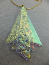 Fairy Wings in Soft Gold Orange Dichroic Glass Pendant & Chain