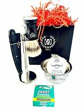 MENS TRAVELING SHAVING KIT BUMP FREE DOUBLE EDGE SAFETY RAZOR SHAVE ZEVA RASAGE