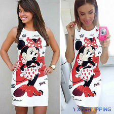 Women Mickey Cartoon Tank Dress Summer Cocktail Party Bodycon Slim Mini Dresses