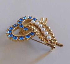 VINTAGE FAUX PEARL and BLUE STONE DESIGNED COSTUME BROOCH/PIN