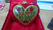 Hand Painted 2013 Li Bien Glass Ornament Heart Shape Happy Holidays /Gnome W/Box