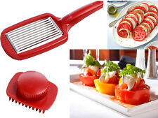 RED STAINLESS STEEL BLADE TOMATO SLICER AND PRESS HANDLE CUTTER CHOPPER
