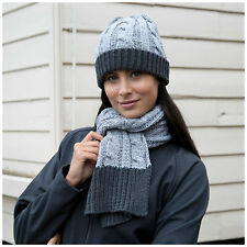 Chunky Knit Hat and Scarf Set Warm Soft Winter Grey Charcoal Mens Womens