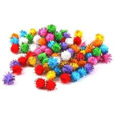 100 Iridescent Glitter POM POM BALLS Sparkly Small Puff Kitten Cat Toy 1.5cm