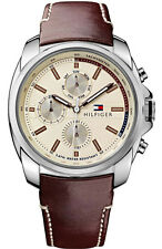 New Tommy Hilfiger Multi-Function Brown Leather Date Men Watch 45mm 1791079 $165