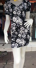 H&M Black Floral Pattern Open Back  Clubwear/Casual Bodycon Mini Dress Size S