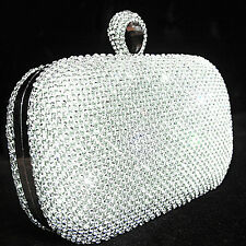 Dazzling Silver Crystal Rhinestone Ring Wedding Bridal Evening Party Clutch