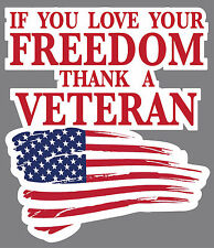 "Thank A Veteran Sticker Decal 3"" x 3.5"" Army, Navy, Air Force, Marines, POW"