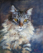 Maine Coon Cat Painting by The Artist Sonia Bacchus