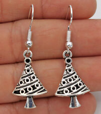 925 Silver Plated Hook- 1.6'' Vintage Christmas Tree Chic Lady Drop Earrings #01