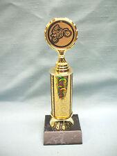 gold motocross insert  trophy  black wood base