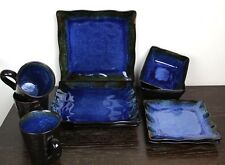 10 Pc HOME Tempest Blue Plates Dinner Salad Bowl Cups Stoneware!