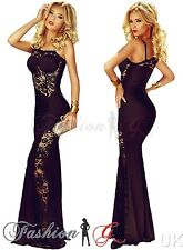 Womens Evening Dress Maxi Ball Gown Prom.Party Formal Long Black Lace Size 12 14