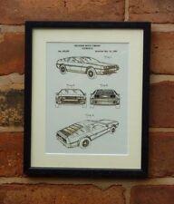Patente de EE. UU. Dibujo Delorean Volver al futuro coche Sci Fi montado de impresión de 1965