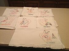Vintage Embroidered Dish Towels Cats Kittens Chores Complete  Days of The Week