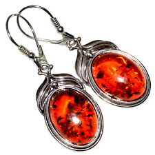 6.9g Authentic Baltic Amber 925 Sterling Silver Earrings Jewelry A8321A