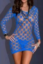 Sexy One Size fits Plus Lingerie Mini Dress Blue #9 Stretch Fishnet Bodycon USA