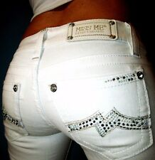 Buckle MISS ME by MEK Crystal Studded Flare Low Rise White Jeans 26 x 30.5 #0008
