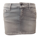 GREY DENIM MINI SKIRT.
