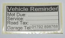 50x Vehicle Reminder Labels MOT Due Service Road Tax Stickers Date Box GARAGE No