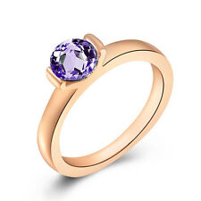 ROXI Brand Fashion 18K Rose Gold Plated Purple Crystal Band Ring Size 8