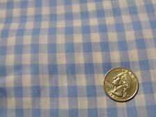 """Baby Blue White True Gingham Cotton/Poly Quilting Apparel Fabric 44"""" BTHY"""