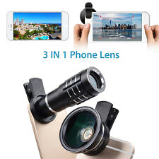 3in1 Universal 12X Telephoto+Wide Angle+Macro Camera Lens Kit For Mobile Phone